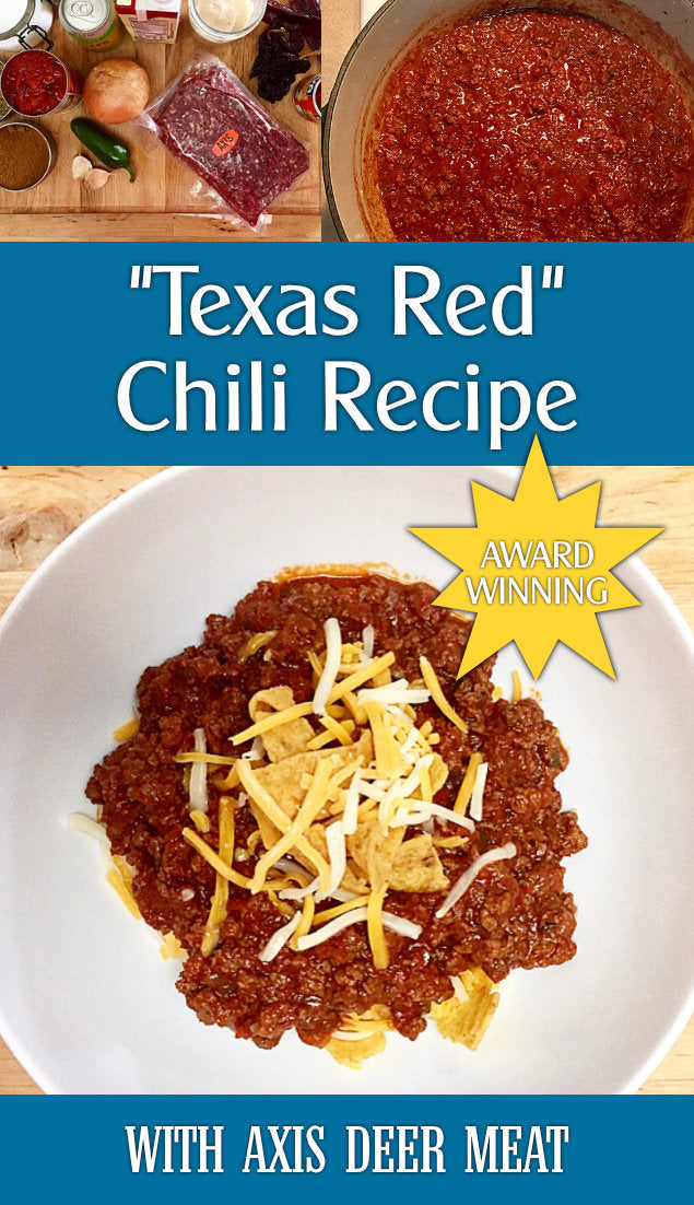 Collage of pictures from making Texas Red Chili with Axis deer meat, with text overlay describing it.