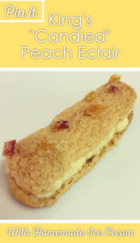 Candied peach eclair with recipe title overlay