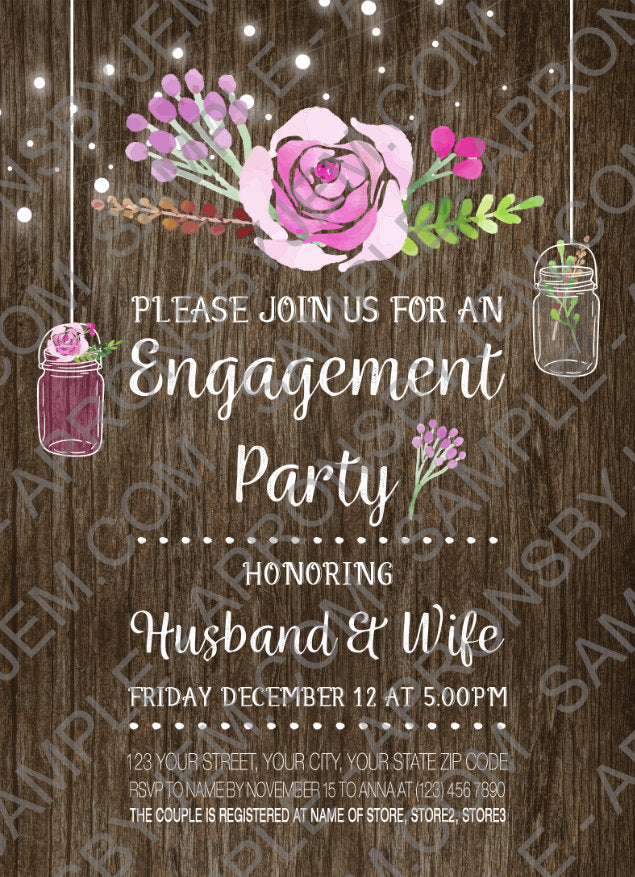 Engagement party printable invitation sample
