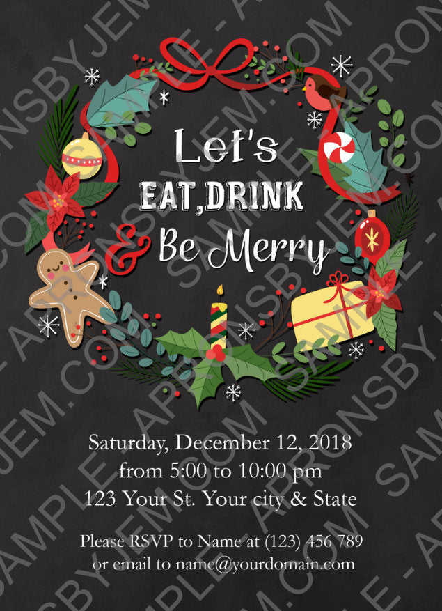 A sample of the printable holiday party invitation available on apronsbyjem.com