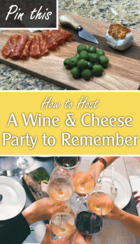 collection of pictures of charcuterie plates and friends toasting with wine glasses with text overlay