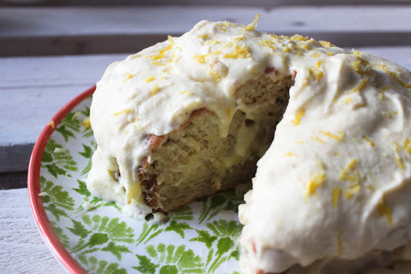gluten-free lemon cream cake cut