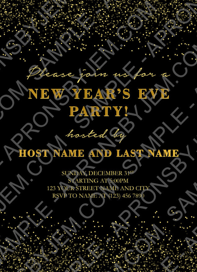 Sample of the New Years Eve Printable Party Invitation available on apronsbyjem.com