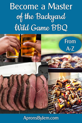 "Collage of wild game barbecue meat, venison tenderloin, etc, and cold beer, with text ""Become a master of the backyard wild game bbq"""