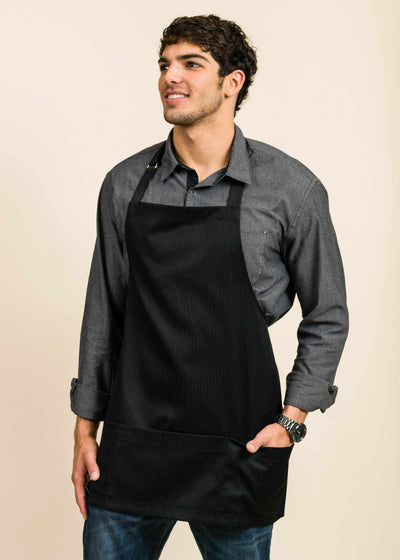 Short Full Black Apron with Pinstripes