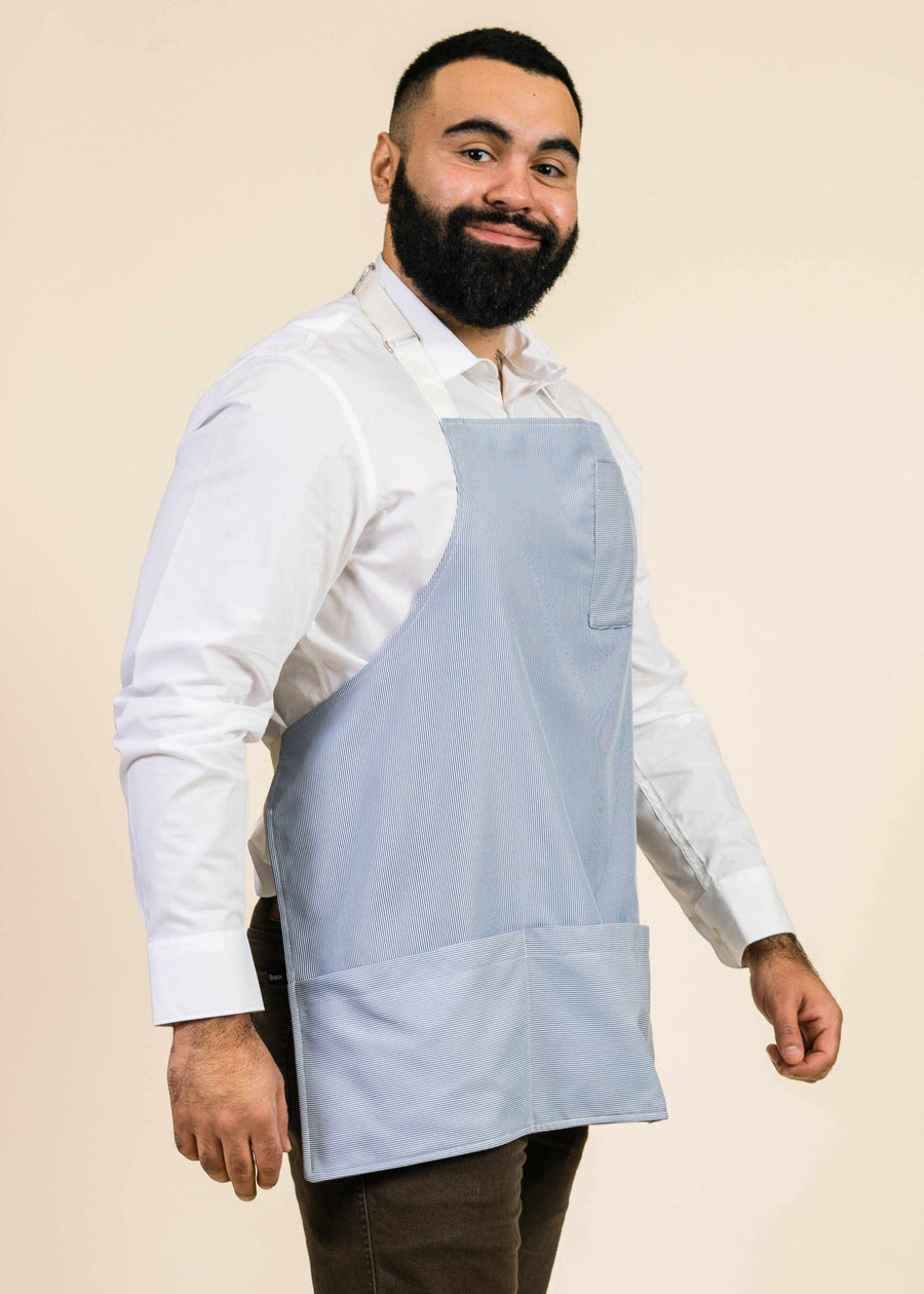 Jack Short Full Apron in Junior Cord Blue