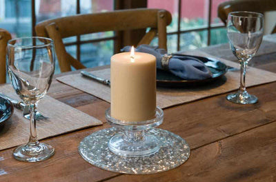 trivet as candle holder, silver sequins