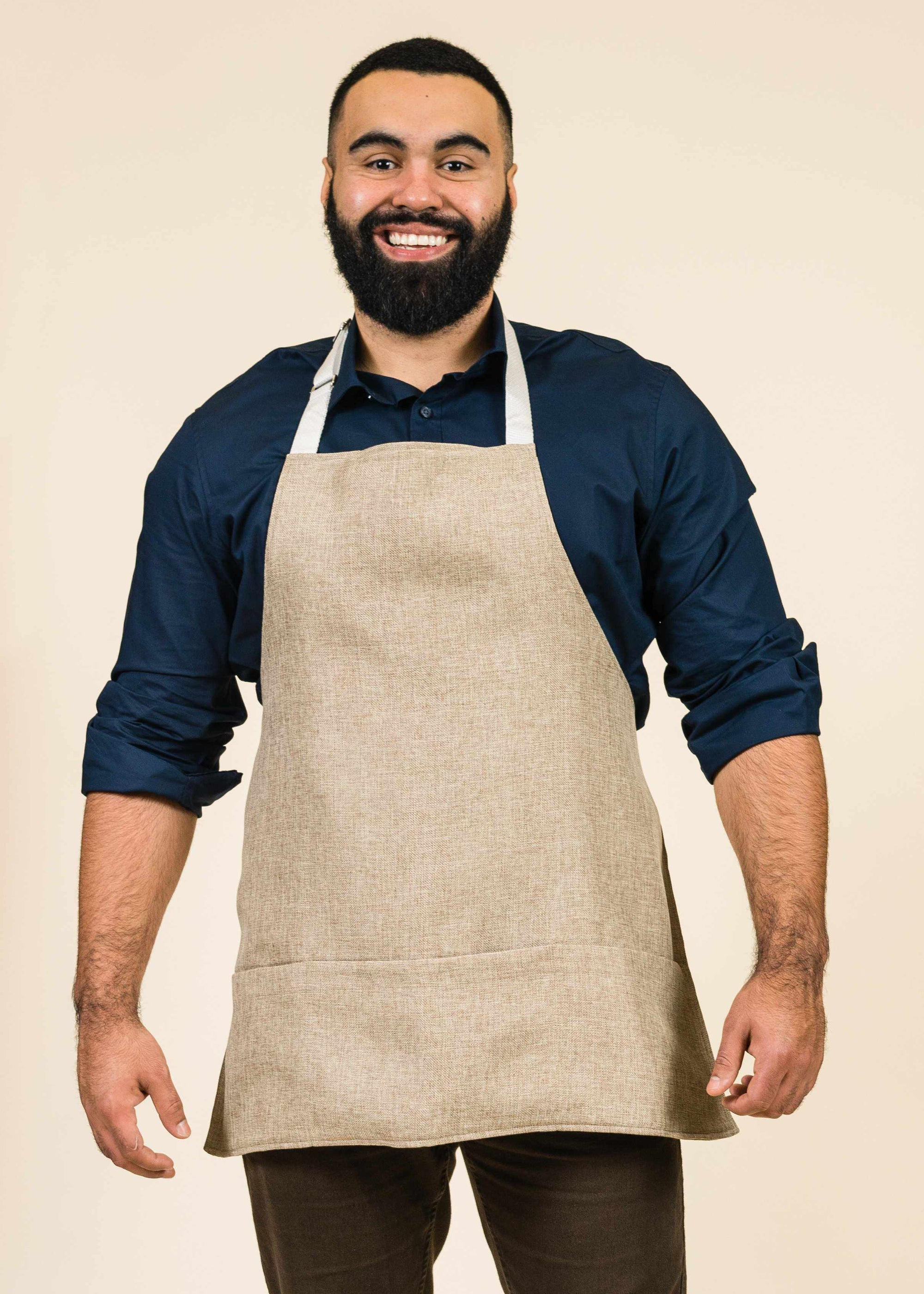 handsome man in his JEM sawgrass Mel Short Full Apron