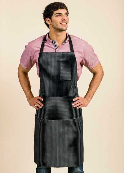 Tony Plus Black Apron with Stripes