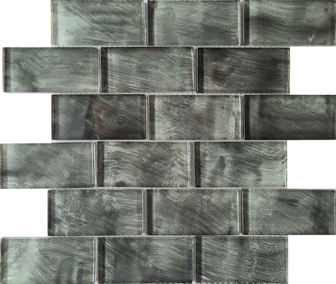 Downtown Graphite Glass Tile 2x4 - Tiles and Deco