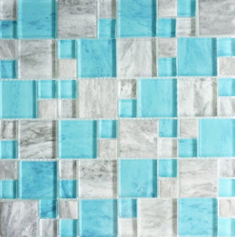 Rock Aqua Turquoise and Grey Mix - Tiles and Deco
