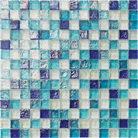 "BLUE BLEND 1"" x 1"" - Poured Glass Serie - Tiles and Deco"