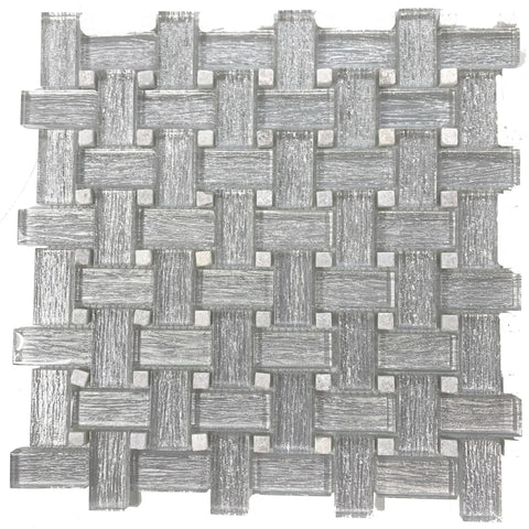 Basket  Weave Silver Glitter - Tiles and Deco