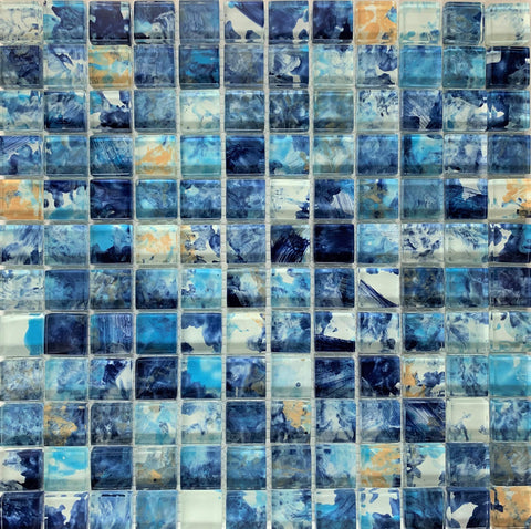 Brush Blue 1X1 Glass Mosaic, Pool Tile, - Tiles and Deco
