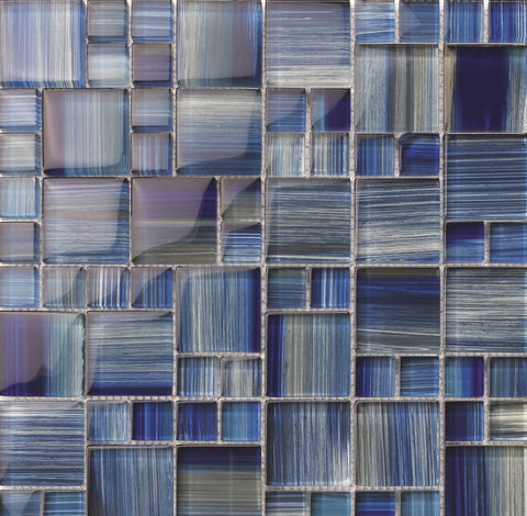 Hawaii Dark Blue Mix Glass tile - Tiles and Deco