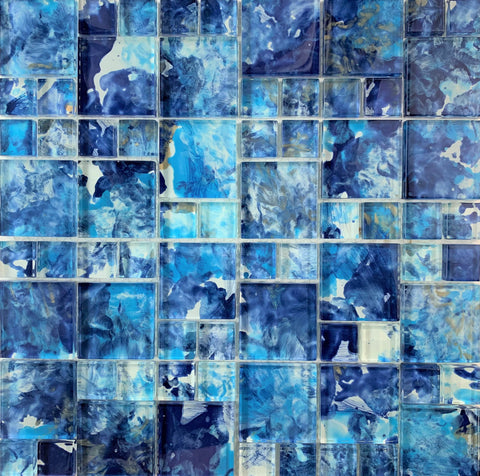 Brush Blue Mix Glass Mosaic - Tiles and Deco