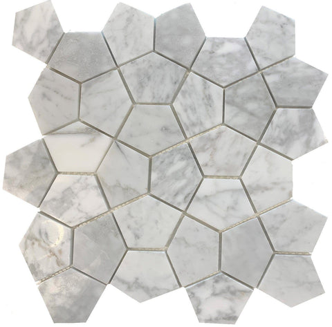 Carrara Pentagon - Tiles and Deco