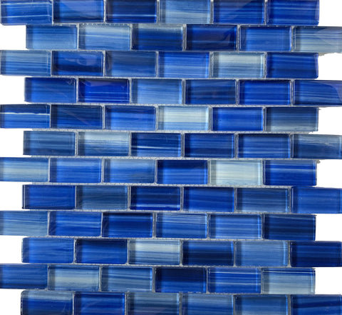 Miami Blue 1X2 Glass tile - Tiles and Deco