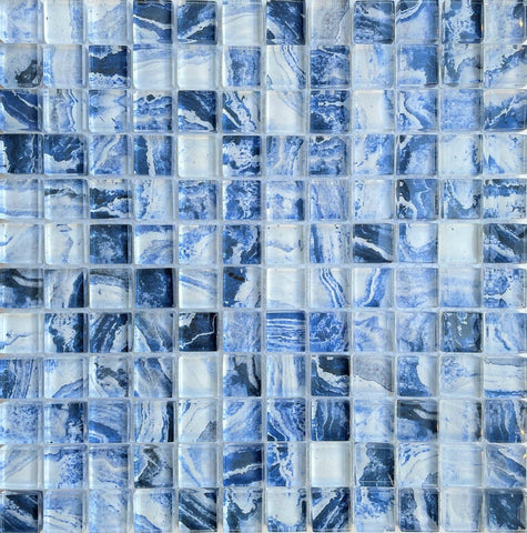 Blue Marble Glass Tile 1x1 - Tiles and Deco