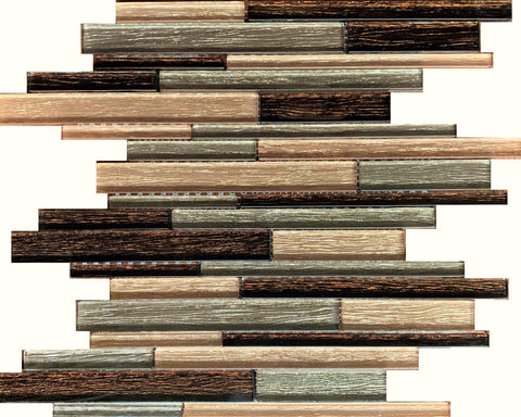 Maple Brown Mix Glass Tile - Tiles and Deco