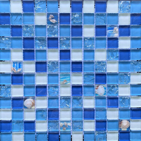 Seashell Mix 1x1 Glass Pool Tile - Tiles and Deco
