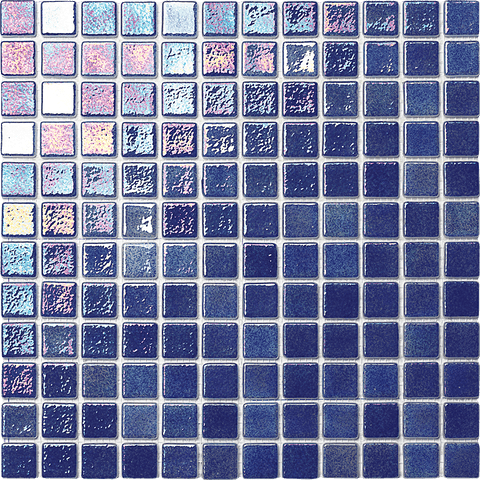 Iridescent Dark Blue Pool Tile - Tiles and Deco