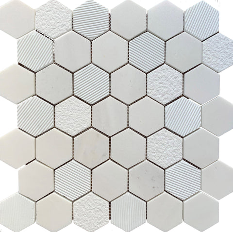 Hexagon Marble Bianco - Tiles and Deco