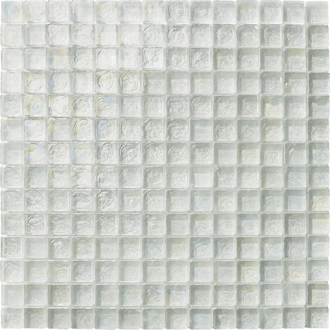 "WHITE  1"" x 1"" - Poured Glass - Tiles and Deco"