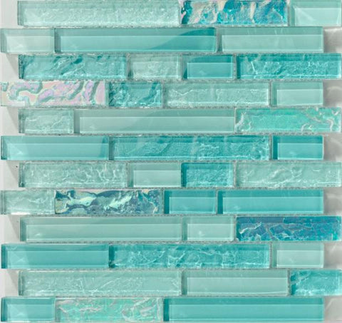 Bahamas Aqua Linear Glass Tile - Tiles and Deco