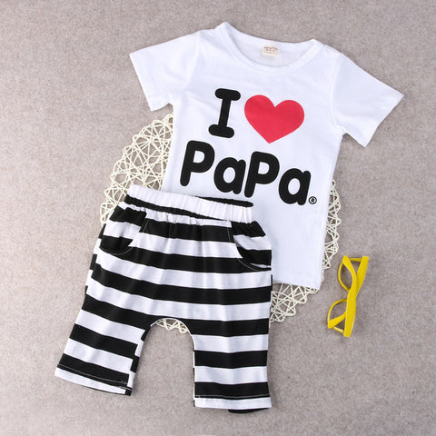 I love Papa/Mama T-shirt and Pant Set for Babies