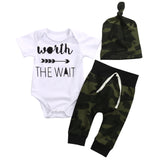 Baby Girl/Boy Romper, T-Shirt, Long Pants And Hat Outfit Combo