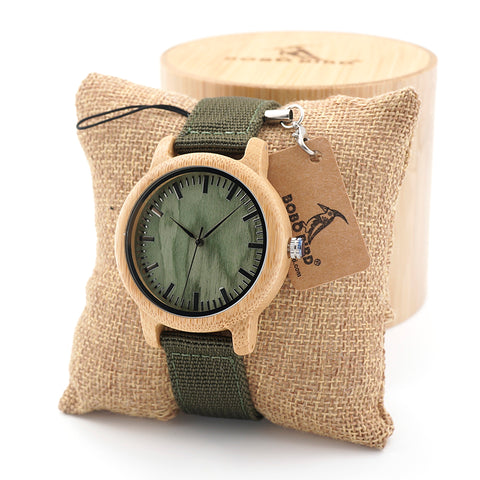 Natural Wood Watches With Army Green Canvas Band - Wrist Watches - TiltedHead