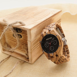 Zebra Wood Men's Wristwatch with Chronograph - Wrist Watches - TiltedHead