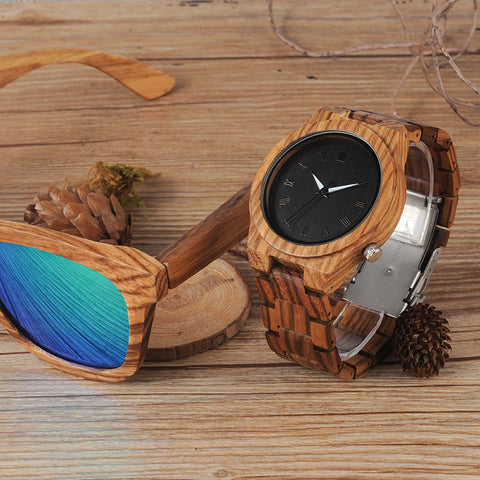 Zebra Wood Quartz Watch with Luminous Hands - Wrist Watches - TiltedHead