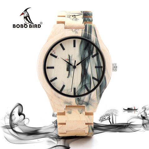 Wooden Watch with Ink Painting Design - Wrist Watches - TiltedHead
