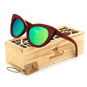 Ladies Cat eyes Classic Wood Sunglasses with Mirror Coating -  - TiltedHead