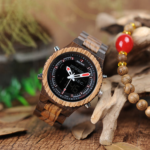 Luxury Dual Display Wooden Quartz Watch for Men - Wrist Watches - TiltedHead
