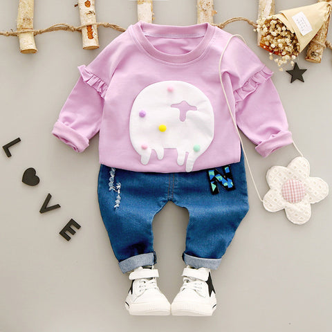 Cartoon Themed Clothes Sets For Baby Girls