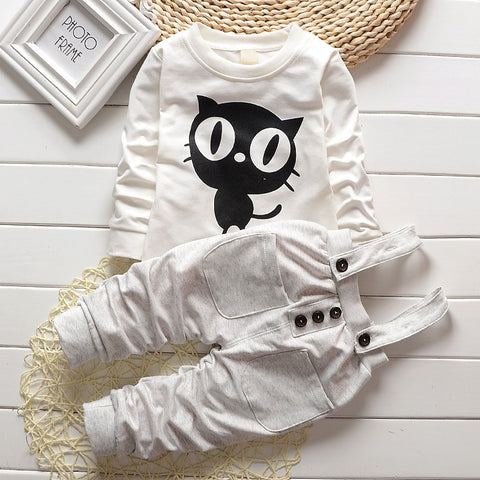 Long Sleeve T-Shirt and Overall Pants for Babies
