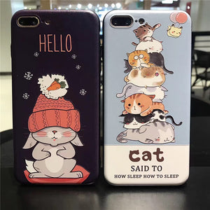 Cute Lazy Cat Hard Case For iPhone - Phone Cases - TiltedHead