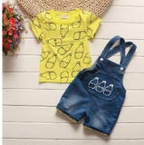 Cotton T-shirt and Denim Bib Shorts Suit