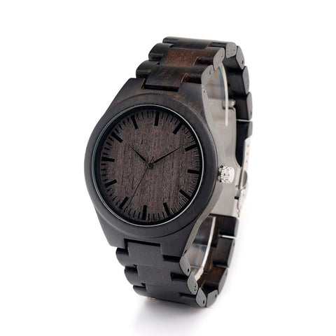 Men's Sandalwood Ebony Wood Wristwatch - Wrist Watches - TiltedHead