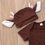 Deer Themed Romper and Long Ear Hat for Babies