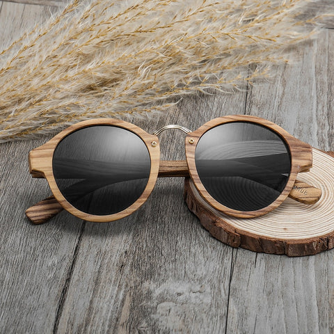 Zebra Wood Retro Sunglasses