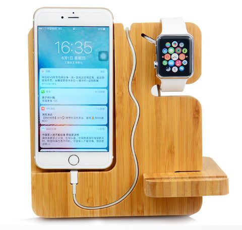 3 in 1 Bamboo Wooden USB Charging Dock