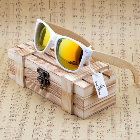 Wooden Frame Sunglasses With Mirrored Coating - Sunglasses - TiltedHead