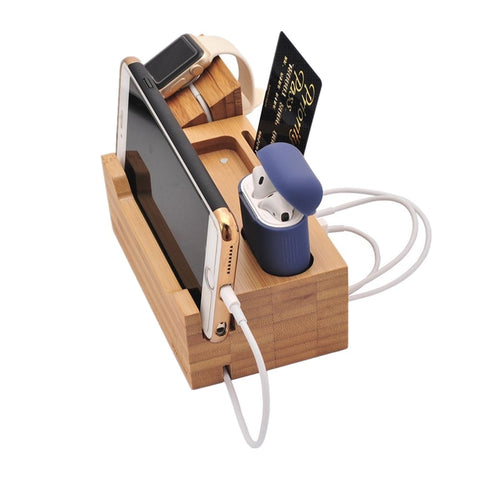 2 in 1 Wood Charging Station with Earpods Holder