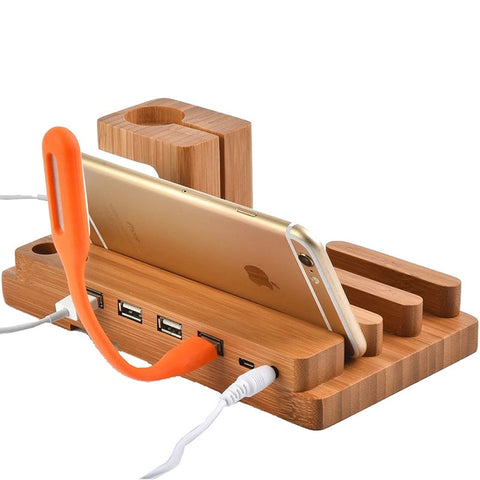 Multi-function Bamboo Charging Dock with 4 USB Ports