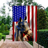 Flag GARDEN American Paint Horse 4July