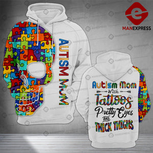 Autism mom with tattoos 3d all over printed hoodie